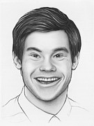Graphite Portrait Drawings Prints - Adam - Workaholics Print by Olga Shvartsur