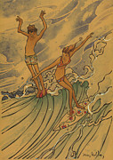 Surf Art Posters - Adam and Eve 2 Poster by Harry Holiday