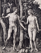 Albrecht Drawings Prints - Adam and Eve Engraving Print by Albrecht Durer