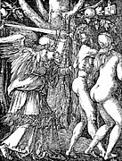 Angels Drawings - Adam and Eve Etching by Albrecht Durer by