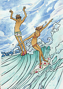 Surfers Posters - Adam and Eve Poster by Harry Holiday