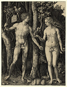 Albrecht Durer Prints - ADAM and EVE in the GARDEN of EDEN - ALBRECHT DURER 1504 Print by Daniel Hagerman