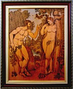 Drawing Pyrography Originals - Adam and Eve  Peter Paul Rubens Fine Wood Burning Art by  Peter Paul Rubens