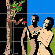 Adam And Eve Digital Art Framed Prints - Adam and Eve Framed Print by Roby Marelly