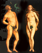 Adam And Eve Framed Prints - Adam Eve and the Serpent Framed Print by Hans Baldung
