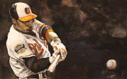 Mlb Metal Prints - Adam Jones Metal Print by Michael  Pattison