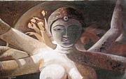 Goddess Durga Painting Framed Prints - Adda Pujor  Framed Print by Sadhna Tiwari