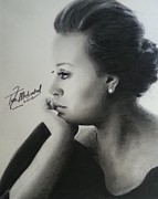 Signed Drawings Framed Prints - Adele Charcoal Framed Print by Lance  Freeman