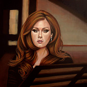Pop Singer Painting Prints - Adele Print by Paul  Meijering