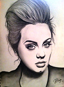 Adele Drawings - Adele- Someone Like You by Araceli Rizo