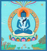 Tibetan Buddhism Paintings - Adi Buddha by Ies Walker