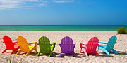 Beach Chairs Posters - Adirondack Beach Chairs for a Summer Vacation in the Shell Sand  Poster by ELITE IMAGE photography By Chad McDermott
