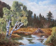 Beaver Pond Paintings - Adirondack Pond by Robert Stump