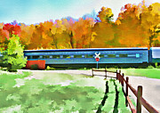 Railroads Mixed Media Framed Prints - Adirondack Scenic Railroad - Watercolor Framed Print by Steve Ohlsen