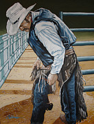 Bull Rider Prints - Adjustment Print by Gary Kroman