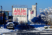 Feed Mill Framed Prints - Adluh Flour Meal Feed Snow 1 Framed Print by Joseph Hinson