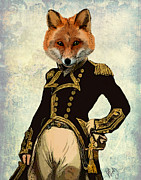 Portraits Digital Art Framed Prints - Admiral Fox Full Framed Print by Kelly McLaughlan