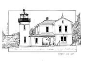 Featured Drawings - Admiralty Head Light by Ira Shander