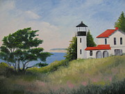 Wa Painting Posters - Admiralty Head Lighthouse Poster by Becky Bragg