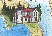 Chart Paintings - Admiralty Head Lighthouse WA Nautical Chart Map Art Cathy Peek by Cathy Peek