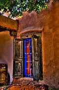 Adobe Buildings Prints - Adobe Cafe Window in New Mexico Print by David Patterson