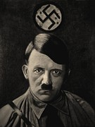 World War 2 Drawings Prints - Adolf Hitler - Sepia Print by Vishvesh Tadsare