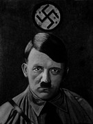 World War 2 Drawings Prints - Adolf Hitler Print by Vishvesh Tadsare