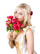 Adorable Florist Woman Smelling Red Flowers Print by Ryan Jorgensen