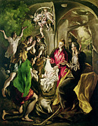 Religious Art Painting Framed Prints - Adoration of the Shepherds Framed Print by El Greco Domenico Theotocopuli