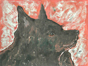 Canine Mixed Media Prints - Adoring Eyes Print by Cori Solomon