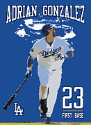 First Baseman Framed Prints - Adrian Gonzalez Framed Print by Israel Torres
