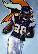 Vikings Painting Posters - Adrian Peterson 24x36 Poster by Absolon Moreau