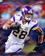 Vikings Mixed Media Framed Prints - Adrian Peterson Framed Print by Dwayne  Graham