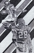Vikings Drawings Posters - Adrian Peterson Poster by Jonathan Tooley