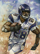 Sports Art Mixed Media Prints - Adrian Peterson Print by Michael  Pattison