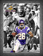 Adrian Peterson Posters - Adrian Peterson Vikings Poster by Joe Hamilton