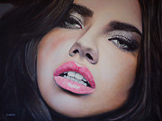 Bcbg Prints - Adriana Lima Oil On Canvas Print by David Rives