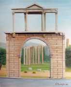 Olympian Paintings - Adrians gate by Anastassios Mitropoulos