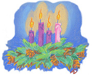 Candles Pastels - Advent Wreath by Ann Dowless
