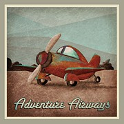 Vintage Plane Posters - Adventure Air Poster by Cindy Thornton