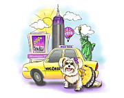 Nyc Mixed Media - Adventures with the Manhattan Morkie by Catia Cho