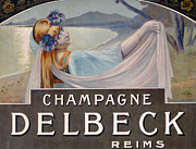 Sparkling Wine Drawings Prints - Advertisement for Champagne Delbeck Print by Louis Chalon