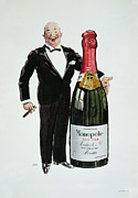 Advertisement Drawings Prints - Advertisement for Heidsieck Champagne Print by Sem