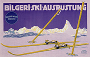 Sports Drawings Prints - Advertisement for skiing in Austria Print by Carl Kunst