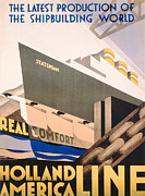 Industrial Art Drawings Prints - Advertisement for the Holland America Line Print by Hoff
