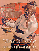 Wine Grapes Drawings Posters - Advertisemet for Marmonier Fils Lyon Poster by Adolfo Hohenstein