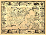 Vintage Map Digital Art Metal Prints - Advertising Map Metal Print by Gary Grayson