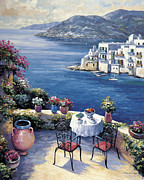 Pallet Knife Paintings - Aegean Vista by John Zaccheo