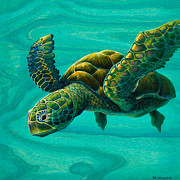 Soaring Painting Posters - Aeko Sea Turtle Poster by Emily Brantley