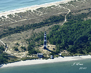 James Lewis Prints - Aerial of Cape Lookout Lighthouse Print by James Lewis